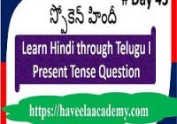 Learn Hindi through Telugu Day 43 І Questions – Haveela Academy