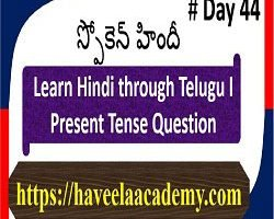 Learn Hindi through Telugu Day 44 І Questions – Haveela Academy