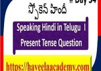 Speaking Hindi in Telugu Day 34 І Questions – Haveela Academy